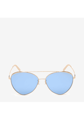Bally Sunkist Triangle Frame Sunglasses Pink, Women's Universal fit sunglasses in shiny rose gold and blue