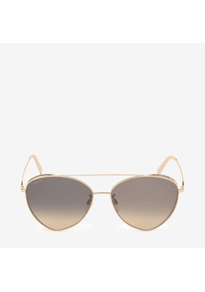 Bally Sunkist Triangle Frame Sunglasses Pink, Women's Universal fit sunglasses in shiny rose gold and gradient yellow