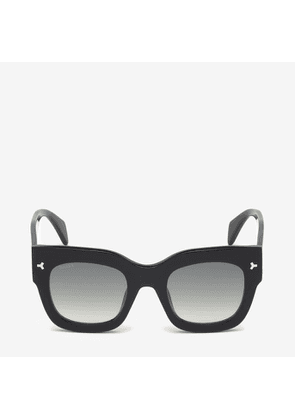 Bally Ocean D-Frame Sunglasses Black, Women's Universal fit sunglasses in shiny black and gradient smoke