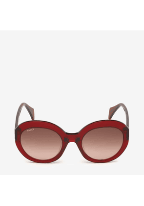 Bally Rodeo Round Frame Sunglasses Red, Women's Asian fit sunglasses in shiny red and gradient brown