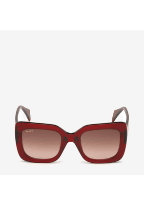 Bally Rodeo Square Frame Sunglasses Red, Women's Asian fit sunglasses in shiny red