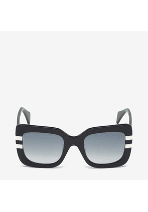 Bally Rodeo Square Frame Sunglasses Black, Women's Asian fit sunglasses in black and white