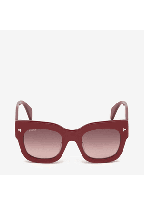 Bally Ocean D-Frame Sunglasses Red, Women's Universal fit sunglasses in shiny red and gradient brown