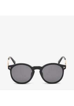 Bally Hype Round Frame Sunglasses Black, Men's Universal fit sunglasses in shiny black and smoke