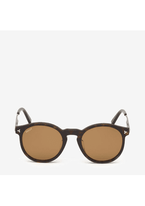 Bally Hype Round Frame Sunglasses Brown, Men's Universal fit sunglasses in dark havana and vintage brown