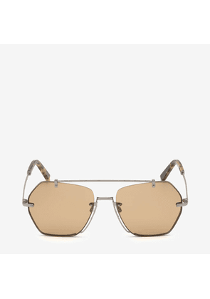Bally Cruz Geometric Sunglasses Brown, Unisex Universal fit sunglasses in shiny light ruthenium and light brown