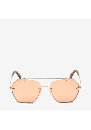 Bally Cruz Geometric Sunglasses Pink, Unisex Universal fit sunglasses in shiny rose gold and gradient rose