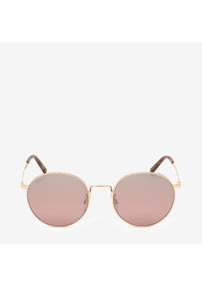 Bally Palm Rounded Sunglasses Pink, Unisex Universal fit sunglasses in shiny rose gold and gradient peach