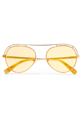 Elizabeth and James - Reeves Aviator-style Rose Gold-tone Sunglasses - Yellow