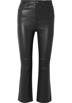 Current/Elliott - The Kick Cropped Leather Flared Pants - Black