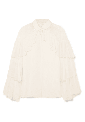 Giambattista Valli - Lace-paneled Ruffled Silk-georgette Blouse - Ivory