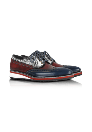 Forzieri Designer Shoes, Red, White and Blue Leather Wingtip Derby Shoes