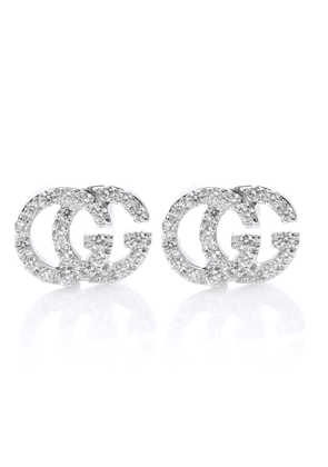 Running G 18kt white gold diamond earrings