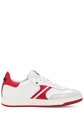 Red Sparkle Leather Sneakers