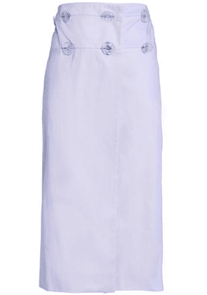 Christopher Esber Woman Wrap-effect Cotton-gabardine Midi Skirt Lilac Size 8