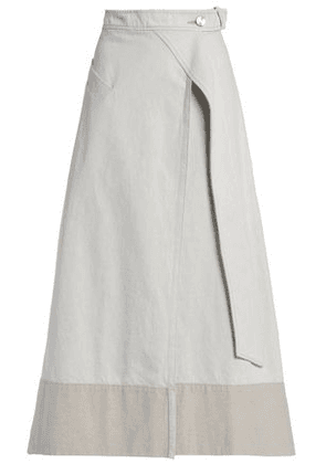 Christopher Esber Woman Two-tone Cotton And Linen-blend Twill Maxi Wrap Skirt Light Gray Size 6
