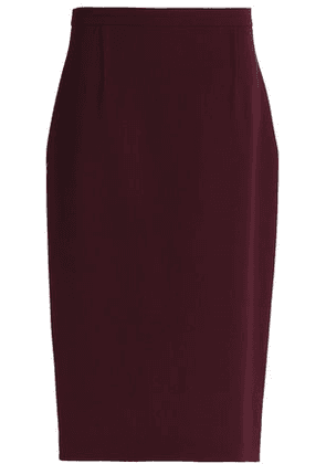 Roland Mouret Woman Wool-crepe Midi Skirt Burgundy Size 12