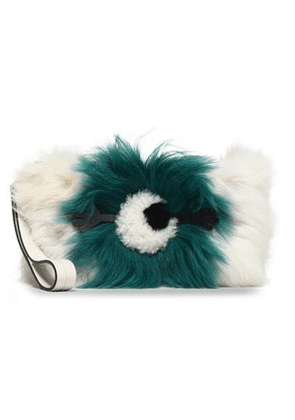 Anya Hindmarch Woman Two-tone Shearling Clutch Off-white Size -
