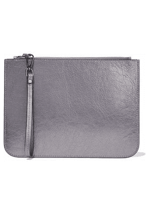 Iris & Ink Woman Metallic Cracked-leather Pouch Anthracite Size -