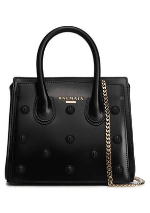 Balmain Woman Studded Glossed-leather Tote Black Size -