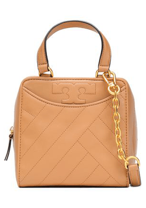 Tory Burch Woman Alexa Topstitched Leather Shoulder Bag Sand Size -
