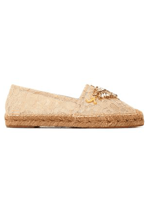 Dolce & Gabbana Woman Embellished Corded Lace Espadrilles Beige Size 38