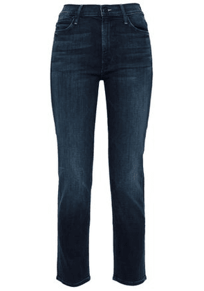 Mother Woman Cropped High-rise Slim-leg Jeans Dark Denim Size 28