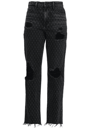 Alexander Wang Woman Distressed Printed High-rise Straight-leg Jeans Charcoal Size 24