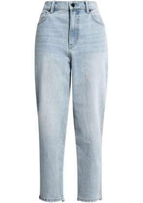 Alexander Wang Woman French Cotton Terry-paneled High-rise Straight-leg Jeans Light Denim Size 29