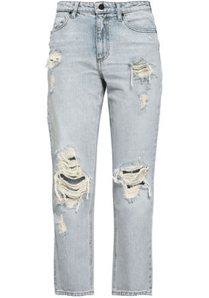 Alexander Wang Woman Distressed Faded High-rise Slim-leg Jeans Light Denim Size 24