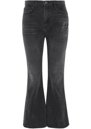 Current/elliott Woman The High Waist Faded High-rise Kick-flare Jeans Charcoal Size 31