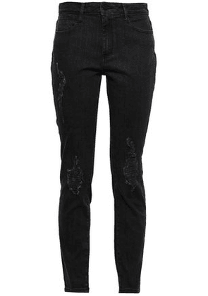 Dkny Woman Distressed Mid-rise Slim-leg Jeans Black Size 26