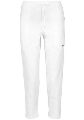 Vetements Woman Embroidered French Stretch-cotton Terry Straight-leg Pants White Size S