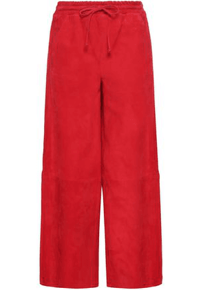 Amanda Wakeley Woman Cropped Suede Wide-leg Pants Red Size 10