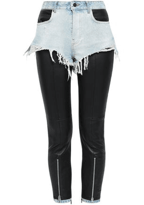 Alexander Wang Woman Layered Denim And Stretch-leather Skinny Pants Black Size 2