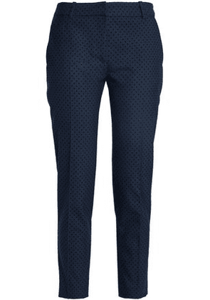 Claudie Pierlot Woman Flocked Twill Tapered Pants Navy Size 42