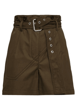 3.1 Phillip Lim Woman Belted Cotton Shorts Army Green Size 4