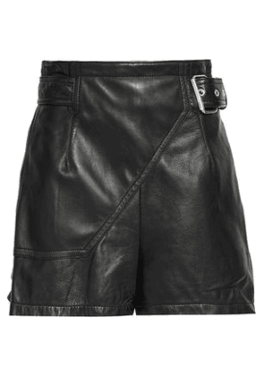 3.1 Phillip Lim Woman Belted Leather Shorts Black Size 4