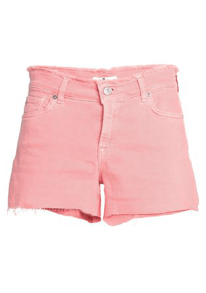 7 For All Mankind Woman Frayed Denim Shorts Coral Size 23