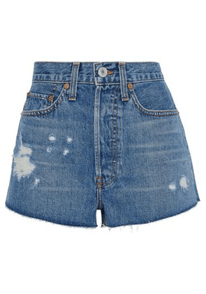 Re/done By Levi's Woman Distressed Denim Shorts Mid Denim Size 24