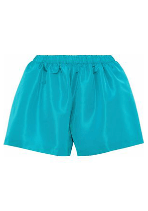 Redvalentino Woman Gathered Satin-faille Shorts Teal Size 38