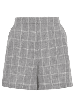 House Of Dagmar Woman Irma Checked Linen-blend Shorts Gray Size 38