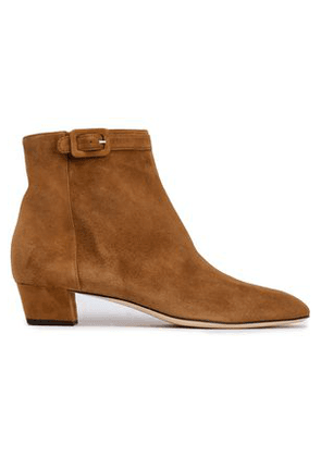 Sergio Rossi Woman Suede Ankle Boots Camel Size 34