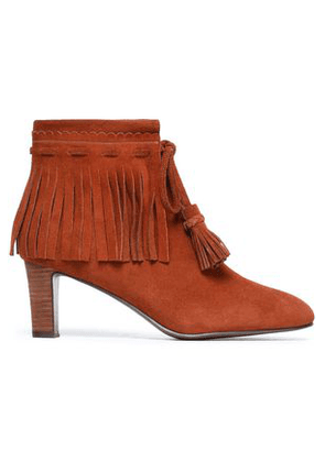 See By Chloé Woman Fringe-trimmed Suede Ankle Boots Tan Size 35