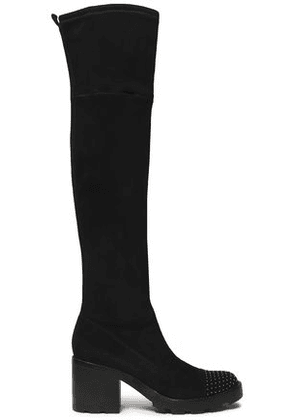 Sigerson Morrison Woman Gemma Studded Stretch-suede Thigh Boots Black Size 6