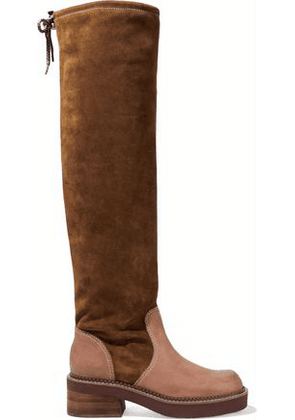 See By Chloé Woman Leather-paneled Suede Over-the-knee Boots Light Brown Size 36