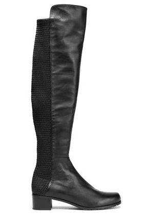 Stuart Weitzman Woman Woven And Smooth Leather Knee Boots Black Size 41