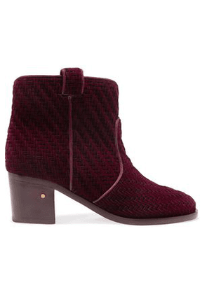 Laurence Dacade Woman Woven Velvet Ankle Boots Merlot Size 36