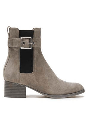 Rag & Bone Woman Buckled Suede Ankle Boots Mushroom Size 36