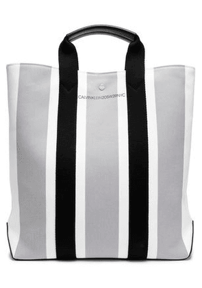 Calvin Klein 205w39nyc Woman Leather-trimmed Striped Canvas Tote Stone Size -